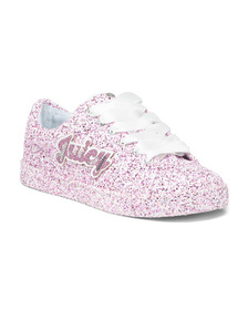 JUICY COUTURE Glitter Lace Up Sneakers (Little Kid