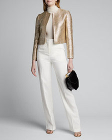 Kiton Metallic Tweed Open-Front Crop Jacket