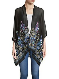 Collection 18 Moroccan Embroidered Wrap BLACK