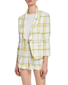 Veronica Beard Schoolboy Shrunken Plaid Jacket