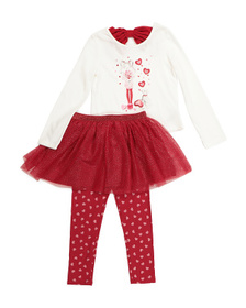 ISAAC MIZRAHI Girls 3pc Love Tutu Skirt Set