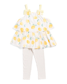 JESSICA SIMPSON Little Girls 2pc Lemon Legging Set