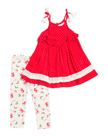 JESSICA SIMPSON Little Girls 2pc Top And Cherry Le