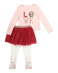 ISAAC MIZRAHI Girls 3pc Love Tutu Skirt Legging Se