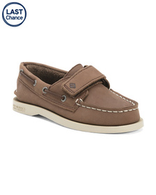SPERRY Leather Velcro Boat Shoes (Toddler)