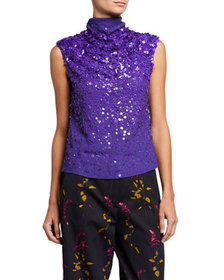 Dries Van Noten Sequined Sleeveless High-Neck Top