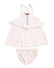 7 FOR ALL MANKIND Infant Girls Tiered Dress With B