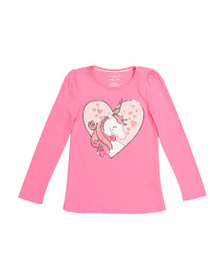 ISAAC MIZRAHI Girls Sequin Unicorn Top