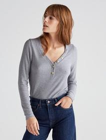 Lucky Brand Long Sleeve Ribbed Henley