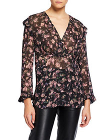 Iro Dolla Floral Ruffle V-Neck Top