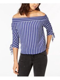 Juniors' Striped Off-The-Shoulder Ruched-Sleeve To