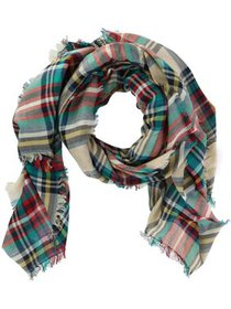 CTM® Lightweight Plaid Print Scarf with Fringe (Wo