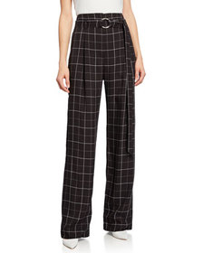 Sally LaPointe Grid Print Belted Pants