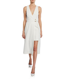 Sally LaPointe Sleeveless Layered Wrap Dress