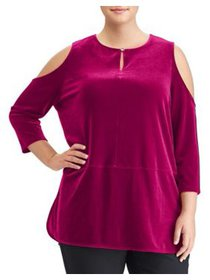 Plus Hi-Lo Velvet Cold Shoulder Top