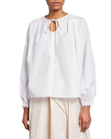 3.1 Phillip Lim Long-Sleeve Poplin Blouse w/ Circu