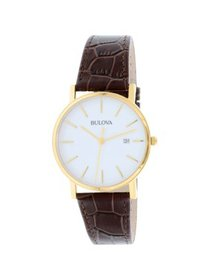 Bulova Men's Brown Leather Quartz Dress Watch 97B1