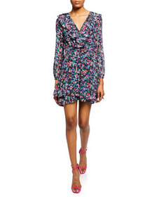 Saloni Jodie 3/4-Sleeve Floral-Print Silk Dress