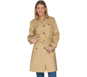 """""""As Is"""" Isaac Mizrahi Live! Water Resistant Trench"""