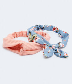 Aeropostale Flower Bow & Ribbed Headband 2-Pac