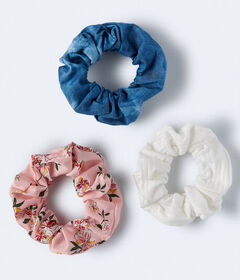 Aeropostale Tie-Dye Denim Scrunchie 3-Pack