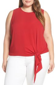 Vince Camuto Sleeveless Tie Front Blouse (Plus Siz