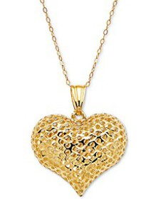 """Textured Puff Heart 18"""" Pendant Necklace in 10k Go"""
