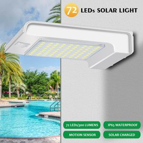 72 LED Solar Powered Outdoor Wall Lights Fixtures