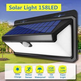 Outdoor Solar Power Wall Lights with PIR Motion Se