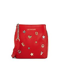 Love Moschino Embellished Leather Bucket Bag RED