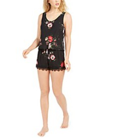 INC Lace-Back Floral-Print Pajama Set, Created For