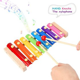 Colorful 8 Tones Hand Knock Xylophone with 2 Woode