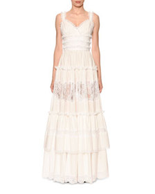 Dolce & Gabbana Sleeveless Tiered Lace-Trim V-Neck