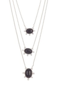 Lucky Brand Convertible Black Agate Layered Neckla
