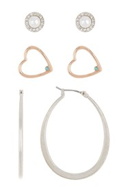 Lucky Brand Heart Stud & Hoop Earring Set - Set of