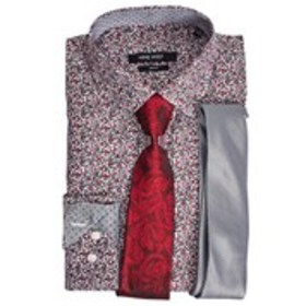 NINE WEST Mens Boxed Slim Fit Dress Shirt with Tie