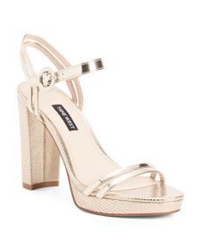 NINE WEST Metallic Platform Dress Sandals