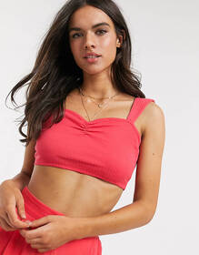 Monki organic cotton two-piece bow-back crop top i