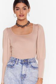 Nasty Gal Taupe Square Your Knowledge Knitted Puff