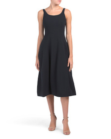 HALSTON Sleeveless Scoop Neck Fit And Flare Dress