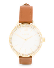 FOSSIL Women's Suitor Crystal Bezel Leather Strap