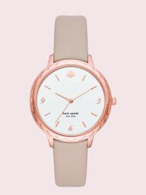 metro slim taupe leather watch