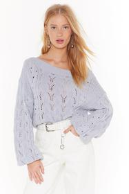 Nasty Gal Grey Pointelle You Out Balloon Sleeve Kn