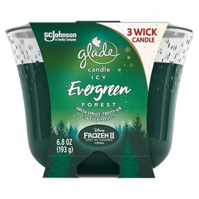 Glade 3-Wick Candle Air Freshener 1 CT, Icy Evergr on sale at Walmart
