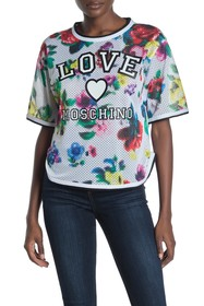 LOVE Moschino Logo Floral Print Jersey Top