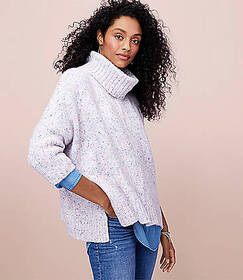 Flecked Turtleneck Poncho Sweater