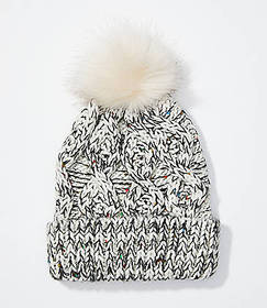 Marled Cable Faux Fur Pom Pom Hat
