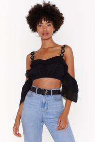 Nasty Gal Black Call Me Daisy Embroided Cold Shoul