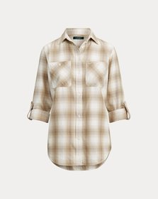 [object Object] Plaid Roll-Tab-Sleeve Shirt