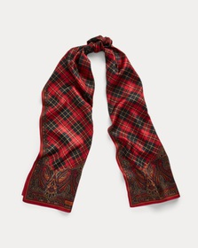 [object Object] Nina Plaid Silk Scarf